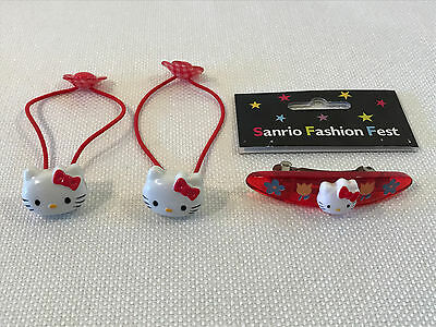 Rare Hello Kitty Vintage Red Pony Tail Holders Hair Clip Barrettes Lot, 1998