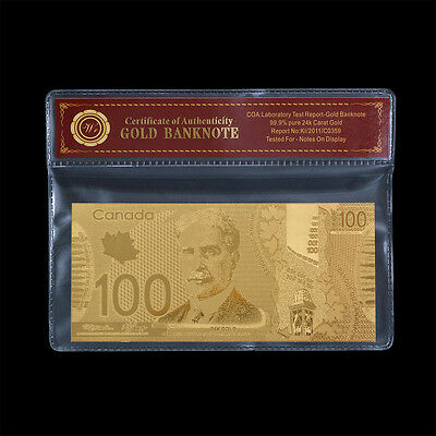 WR Bank of Canada $100 Fine Gold Note Canadian Bill Paper Money Special Gifts