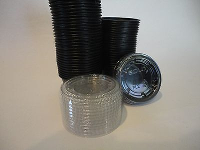 2 oz. Black Souffle Portion Cup with Clear plastic Lids JELLO SHOTS