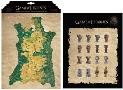 Game of Thrones Map of Westeros and Marker Magnet Set 26-656
