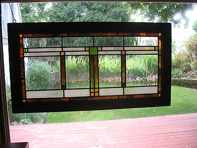 Prairie/ Craftsman Style Stained Glass Window In Frame
