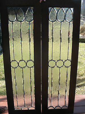 Vintage Pair Of Beveled Glass Windows