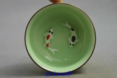 Collectible Handwork Porcelain Inner Carve Pair Goldfish Swimm Auspicious Bowl