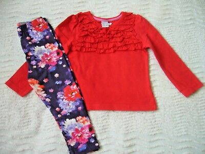 Miniclub New Red L/s Top Ruffle Det. 18-24 Months & Debenhams Floral Leggings