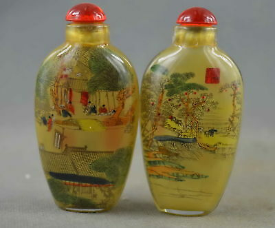 Collectable Handwork Glass Inner Paint Qingming Scroll Urban Lucky Snuff Bottle