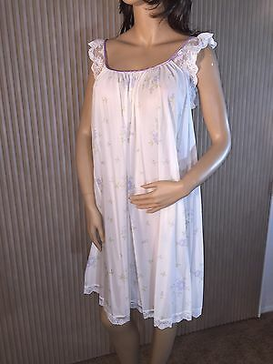 Vtg Claire Sandra By Lucie Ann Nylon Knee Length Signature Print Nightgown