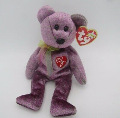 Ty Beanie Signature 2000 Bear Baby Retired Babies Tag Mint 1999 w Tags Purple