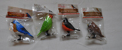 """Motion Activated Chirping Singing Birds Clip-on Ornament 3"""" NIP (Set of 4)"""