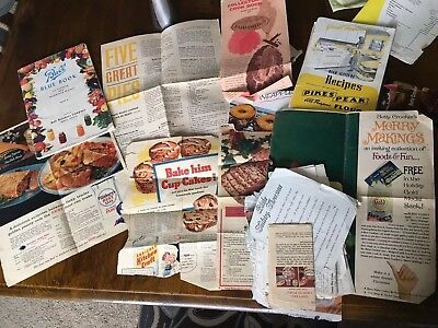Vintage Lot HANDWRITTEN & PRINTED Recipes and advertisement clippings OLD
