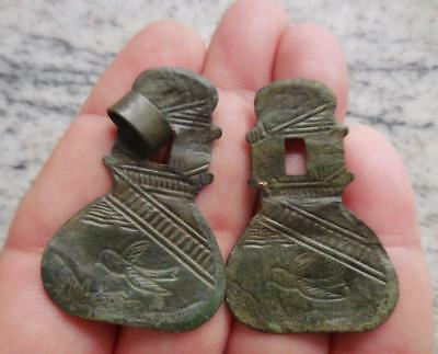 Ainsbrook. Fine Pair Of Copper-Alloy Mounts With Birds Found Yorkshire. Recorded