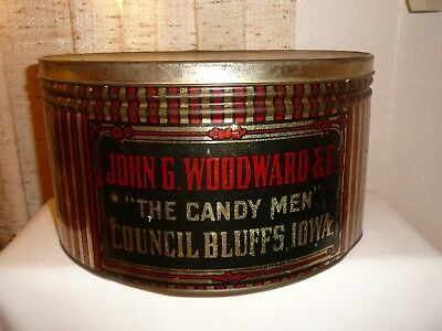 """Antique Store Counter Lg.  Metal Tin.. """"woodward's The Candy Men"""". Aged And Nice"""