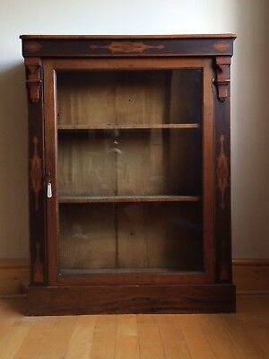 Antique China Glass Display Cabinet Glazed Bookcase Locking with Key