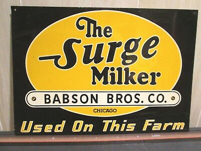 Vintage Tin Metal The Surge Milker Babson Bros. Co. Chicago Farm Sign Clean!