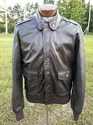 L.L. Bean Leather Fully Lined Bomber Jacket Men's Size 38 Made In USA Medium