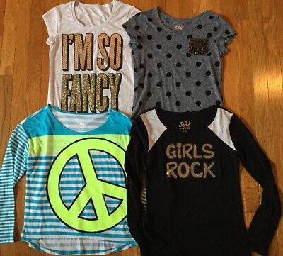 Lot Of 4 Justice Brand Short & Long Sleeve Logo Graphic Tops Shirts Size 12