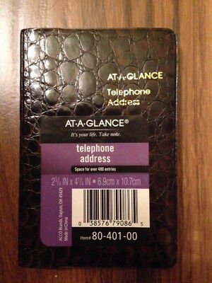 "AT-A-GLANCE 4 1/4"" x 2 3/4"" Small Designer Telephone/Address Book, Brown"