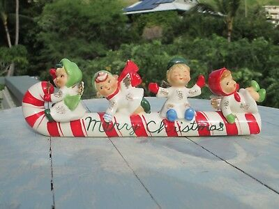 """Vintage Geo Lefton Christmas Candy Cane Sled Angel Riders Japan 10"""" long 4"""" high"""