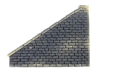 O scale model train grey Pennsy stone wall left hand wing new
