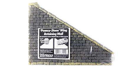 O scale model train grey Pennsy stone wall right hand wing new