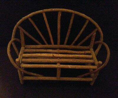 Wood Doll Or Bear Bench, Twig Stick Willow, Great Condition, Rustic