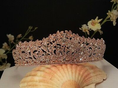 Rose Gold Plated Austrian Crystal Bridal , Prom tiara Sweet 16 Tiara T-015-C