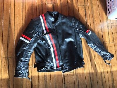 leather motorcycle jacket black red and white stripe XXXL 52chest 20arm @ 44wst