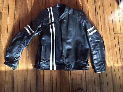leather motorcycle jacket black white stripe 52chest @44waist 20arm, armour vent
