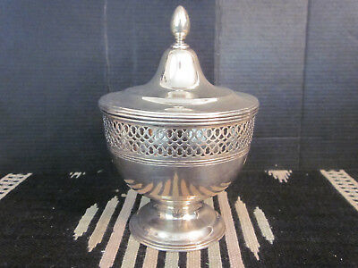 Vtg Tiffany & Company Sterling Silver Lidded Covered Reticulated Condiment Jar