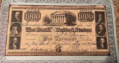 Vtg.$1000 BANK of THE UNITED STATES Bank Note 1840 Advertisement #8894