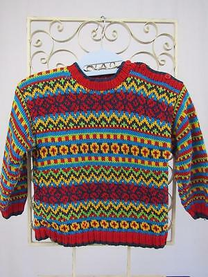 Vintage HANNA ANDERSSON Boys or Girls Sweden COTTON School SWEATER Sz 4 or 100cm