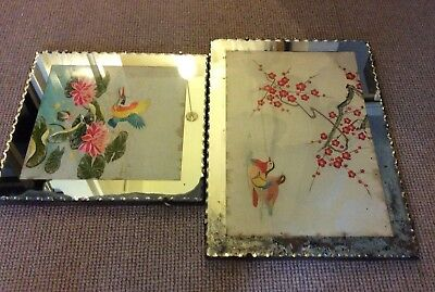 2 Antique  Retro Chinese Embroidered  Silks Framed Within  A Mirror Boarder