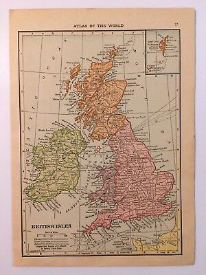 Antique Map of The British Isles 1912 - Old Atlas Map of Europe Vintage