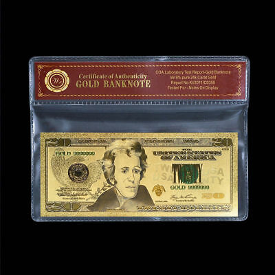 WR $20 Twenty Dollar Bill Colorized Gold US Currency Banknote Thoughtful Gifts
