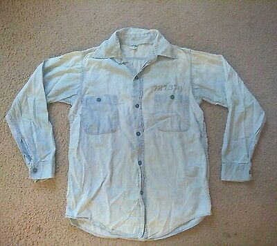 Vintage Champion chambray Blue Bar tag Prison prisoner work shirt small Rare