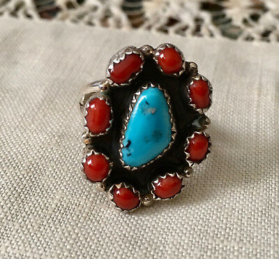 Estate Sterling Silver Navajo Kingman Turquoise and Bright Red Coral Ring/ SZ 7
