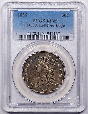 1836 50/00 Capped Bust Half dollar PCGS XF45. Original and exceptional!