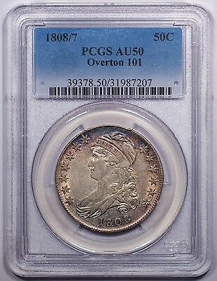 1808/7 Capped Bust Half dollar PCGS AU50. Lovely toning, wonderful eye appeal.