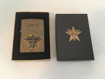 Vintage Marlboro Solid Brass Zippo Lighter Steer In Star Engraved JWM In Box