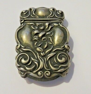 "Antique Art Nouveau Silver Plate ""Sterline"" Repousse Match Safe / Holder"