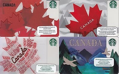Lot of 4 STARBUCKS CANADA CARDS MAPLE LEAF and PURPLE MOUNTAIN