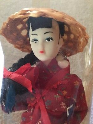 Chinese Girl Doll in Plastic Tube on Wood Stand Dynasty of Chinese Inspired Doll