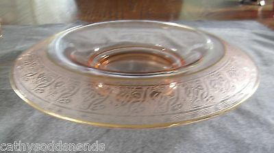 Paden City Pink Depression Floral Etch #504 Rolled Rim Console Bowl W/ Gold Trim