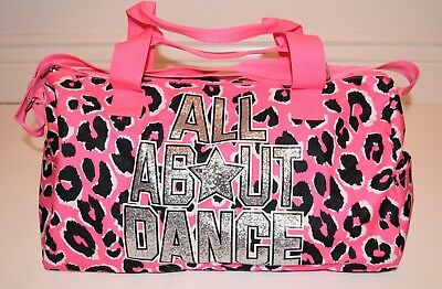Justice Girls ALL ABOUT DANCE Leopard Pink Black & Silver Dance Bag, EUC