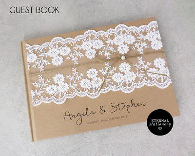 Personalised Rustic Lace Wedding Guest Book - Hardcover (Angela)
