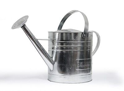 Galvanised Metal Silver Watering Can 9L Holman With Rose Fertilising Plants