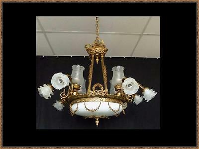 French Antique Vintage Louis XVI Solid Brass Bronze Chandelier Breathtaking LQQK