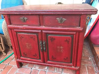 Authentic Antique Chinese Red Side Cabinet