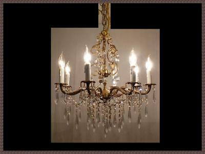 Vintage European Brass & Amazing Crystal Chandelier 8 Light Gorgeous Fixture!!