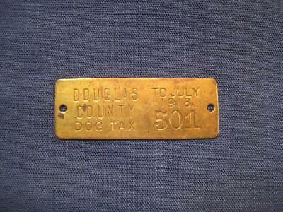 Vintage Oregon 1918 WW II Era Brass Dog Tax License Tag #501
