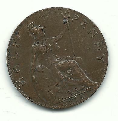 Very Nice Vintage High Grade Xf 1916 Great Britain English Half Penny -Nov632